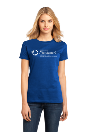 Muskegon Montessori Academy for Envrionmental Change Logo Dark Ladies Royal Stock Model Front 1