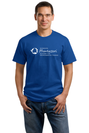 Muskegon Montessori Academy for Environmental Change Logo Dark Unisex Royal Stock Model Front 1