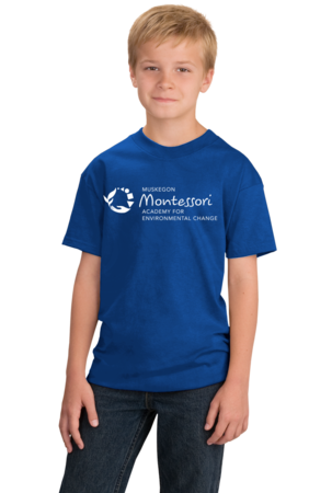 Muskegon Montessori Academy for Environmental Change Logo Dark Youth Royal Stock Model Front 1