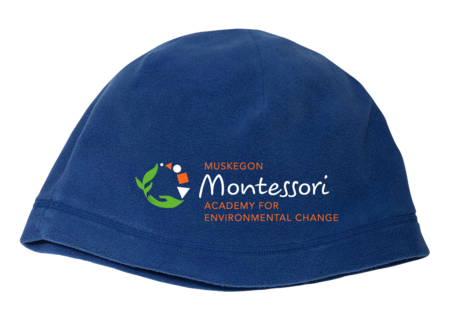 Muskegon Montessori Academy for Envrionmental Change Fleece Beanie Royal Blank with Depth