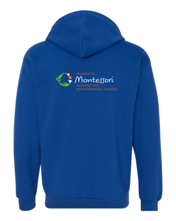 Muskegon Montessori Academy for Envrionmental Change Logo Zip Hoodie Royal Blank with Depth