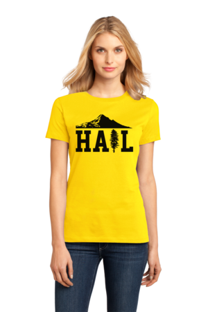 Portland U of M Club Hail Ladies Yellow Stock Model Front 1