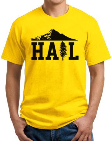 Portland U of M Club Hail Unisex Yellow Stock Model Front 1 Thumb