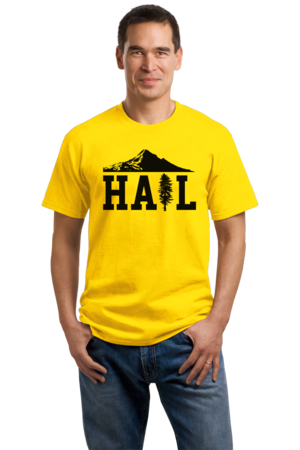 Portland U of M Club Hail Unisex Yellow Stock Model Front 1