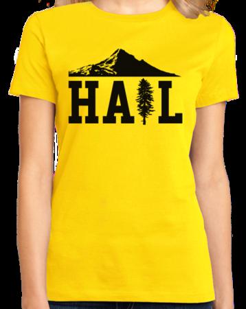 Portland U of M Club Hail Ladies Yellow Stock Model Front 1 Thumb