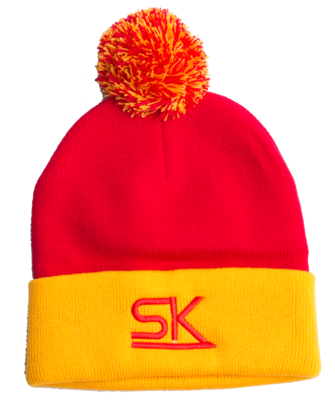 Red and Gold Pom Winter Hat