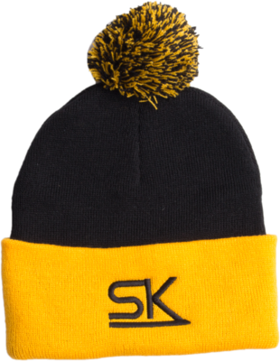 Navy and Gold Winter Pom Hat