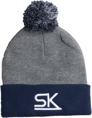 Dark Heather Grey and Navy Winter Pom Hat