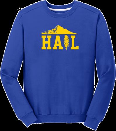 Portland U of M Club Hail Dark Crewneck Sweatshirt Royal Blank with Depth
