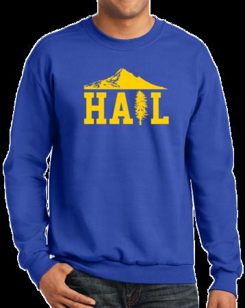 Portland U of M Club Hail Dark Crewneck Sweatshirt Royal Stock Model Front 1 Thumb