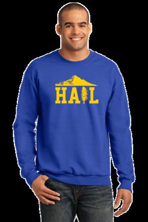 Portland U of M Club Hail Dark Crewneck Sweatshirt Royal Stock Model Front 1