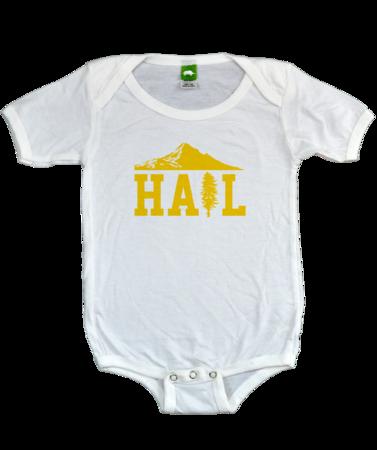 Portland U of M Club Hail Infant Bib White Stock Model Front 1 Thumb