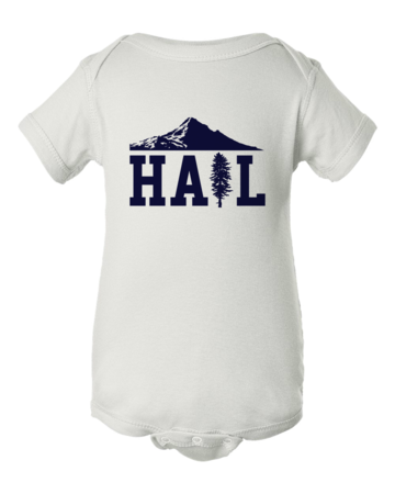 Portland U of M Club Hail Onesie White Blank with Depth