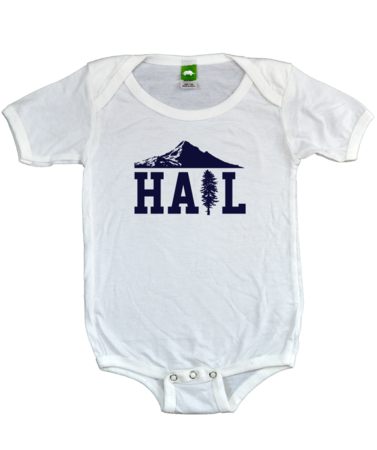 Portland U of M Club Hail Infant Bib White Stock Model Front 1 Thumb