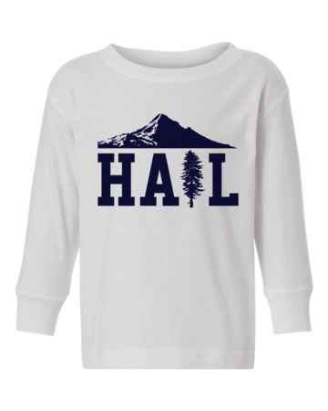 Portland U of M Club Hail Long Sleeve Infant Tee White Blank with Depth