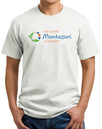 Macomb Montessori Academy Color Logo Unisex White Stock Model Front 1 Thumb
