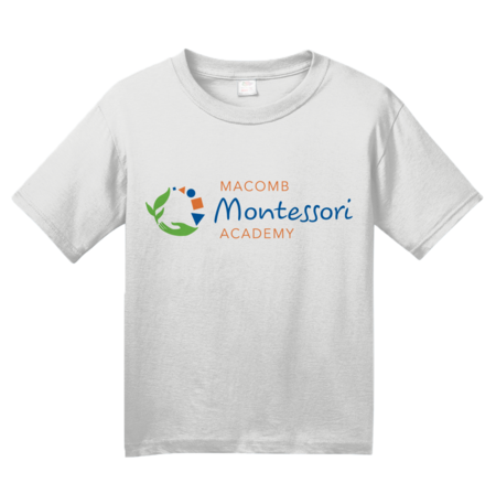 Macomb Montessori Academy Color Logo Youth White Blank with Depth