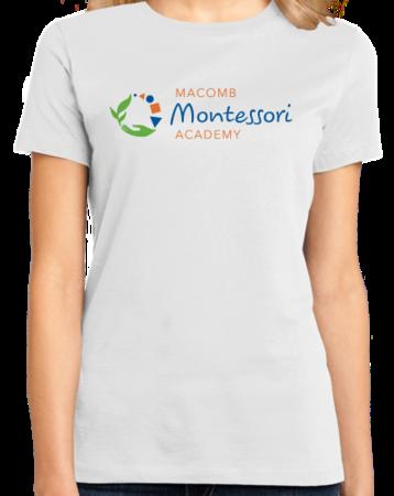 Macomb Montessori Academy Color Logo Ladies White Stock Model Front 1 Thumb