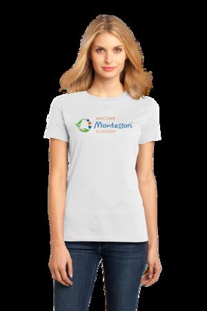 Macomb Montessori Academy Color Logo Ladies White Stock Model Front 1