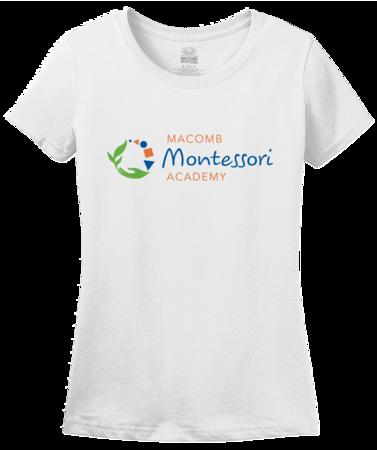 Macomb Montessori Academy Color Logo Ladies White Blank with Depth