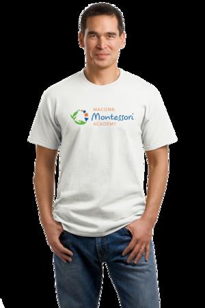 Macomb Montessori Academy Color Logo Unisex White Stock Model Front 1