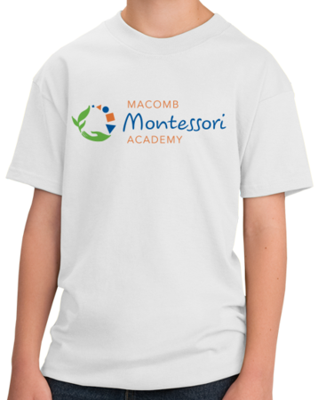 Macomb Montessori Academy Color Logo Youth White Stock Model Front 1 Thumb