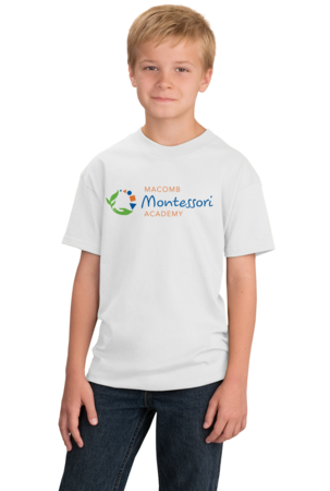 Macomb Montessori Academy Color Logo Youth White Stock Model Front 1