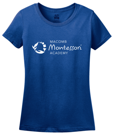 Macomb Montessori Academy White Logo Ladies Royal Blank with Depth