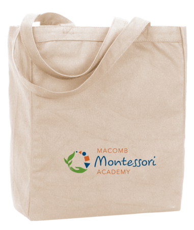 Macomb Montessori Academy Green, Blue, and Orange Logo Tote Natural Blank with Depth