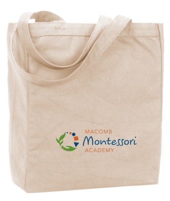 Macomb Montessori Academy Green, Blue, and Orange Logo Tote