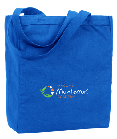Macomb Montessori Academy Green, White, and Orange Logo Tote Royal Blank with Depth