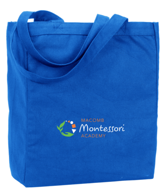 Macomb Montessori Academy Green, White, and Orange Logo Tote
