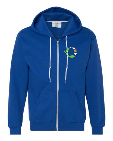 Macomb Montessori Academy Green, White, and Orange Logo Zip Hoodie Royal Blank with Depth