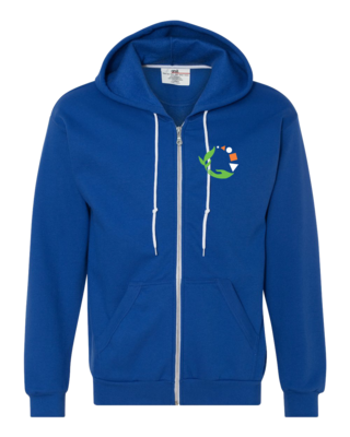 Macomb Montessori Academy Green, White, and Orange Logo Zip Hood