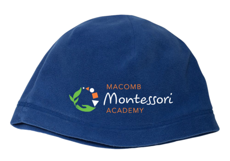 Macomb Montessori Academy Green, White, and Orange Logo Fleece Beanie Royal Blank with Depth