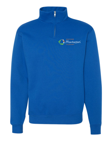 Macomb Montessori Academy Green, White, and Orange Logo Quarter Zip Royal Blank with Depth