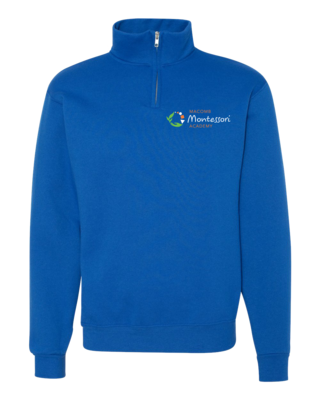 Macomb Montessori Academy Green, White, and Orange Logo Quarter Zip