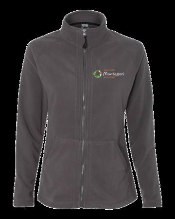 Macomb Montessori Academy Green, White, and Orange Logo Ladies' Microfleece Full-Zip Jacket Grey Blank with Depth