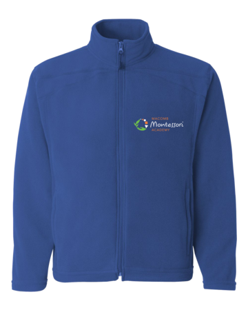 Macomb Montessori Academy Green, White, and Orange Logo Adult Microfleece Full-Zip Jacket Royal Blank with Depth