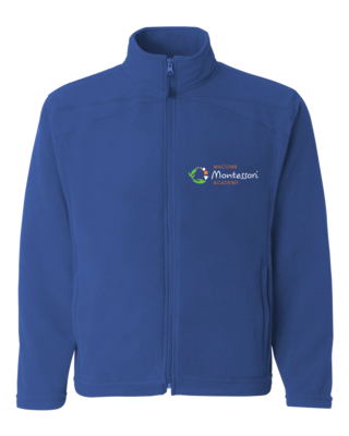 Macomb Montessori Academy Green, White, and Orange Logo Full Zip Fleece