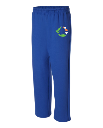 Macomb Montessori Academy Green, White, and Orange Logo Adult Open Bottom Sweatpants Royal Blank with Depth