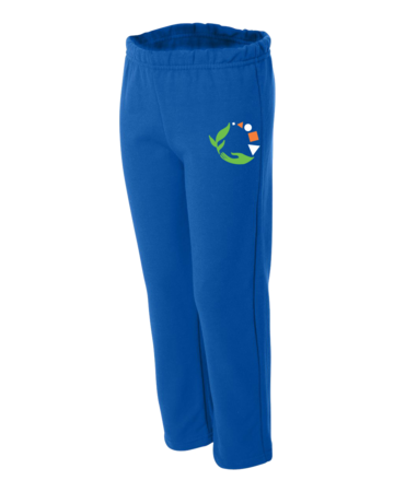 Macomb Montessori Academy Green, White, and Orange Logo Youth Open Cuffed Sweatpant Royal Blank with Depth