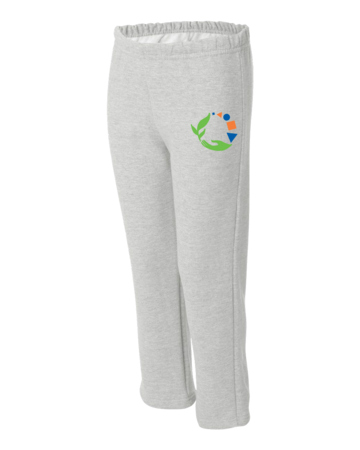 Macomb Montessori Academy Green, Blue, and Orange Logo Youth Open Cuffed Sweatpant Grey Blank with Depth