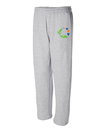 Macomb Montessori Academy Green, Blue, and Orange Logo Adult Open Bottom Sweatpants Grey Blank with Depth