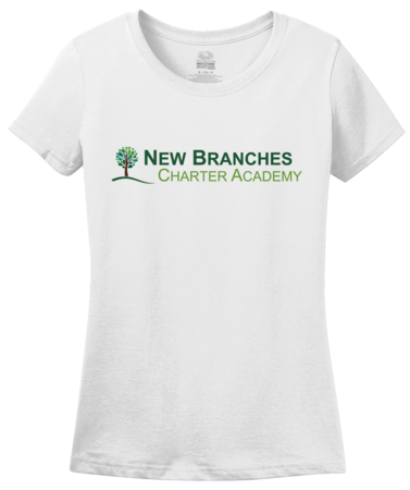 New Branches Color Logo Ladies White Blank with Depth