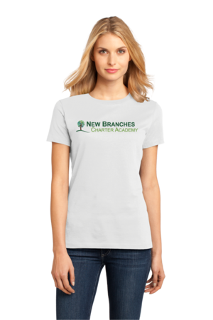 New Branches Color Logo Ladies White Stock Model Front 1