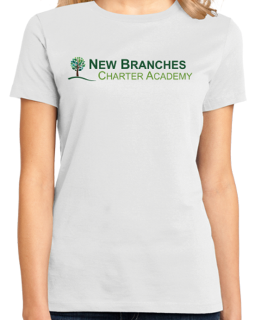 New Branches Color Logo Ladies White Stock Model Front 1 Thumb