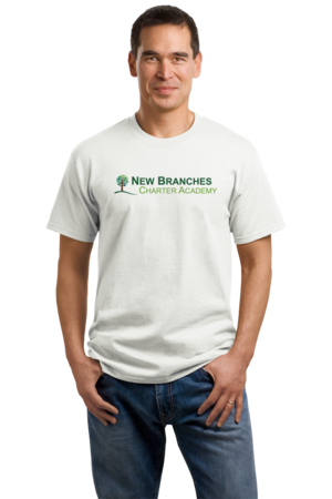 New Branches Color Logo Unisex White Stock Model Front 1