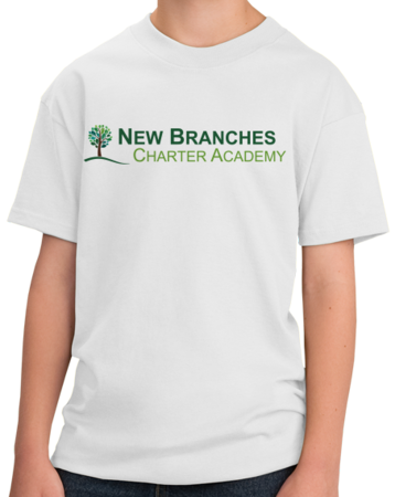New Branches Color Logo Youth White Stock Model Front 1 Thumb
