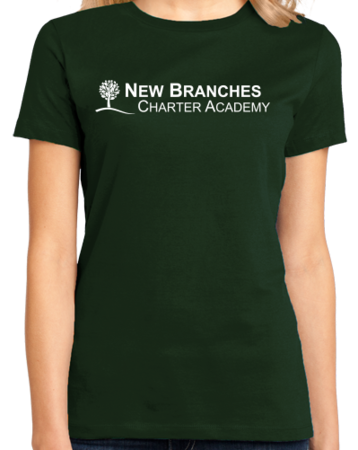 New Branches White Logo Ladies Forest Green Stock Model Front 1 Thumb